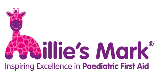 The Millie's Mark Logo. Achieving this Quality Mark means we have reflected on our practice, and work above our minimum requirements to keep children safe and minimise risk's and accidents, and that we ensure all our staff are paediatric first aid trained. It has been awarded by NDNA in association with Department of Education and Millie's Trust.